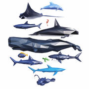 Sea Creatures Low Poly modelo 3d