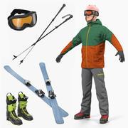 Sammlung von 3D-Modellen für Skifahrer und Ausrüstung 3d model