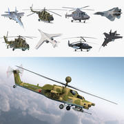 Rigged Russian Military Aircrafts 3D Models Collection 3d model