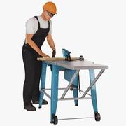 Obrero con sierra circular Makita aparejada para Cinema 4D Modelo 3D modelo 3d