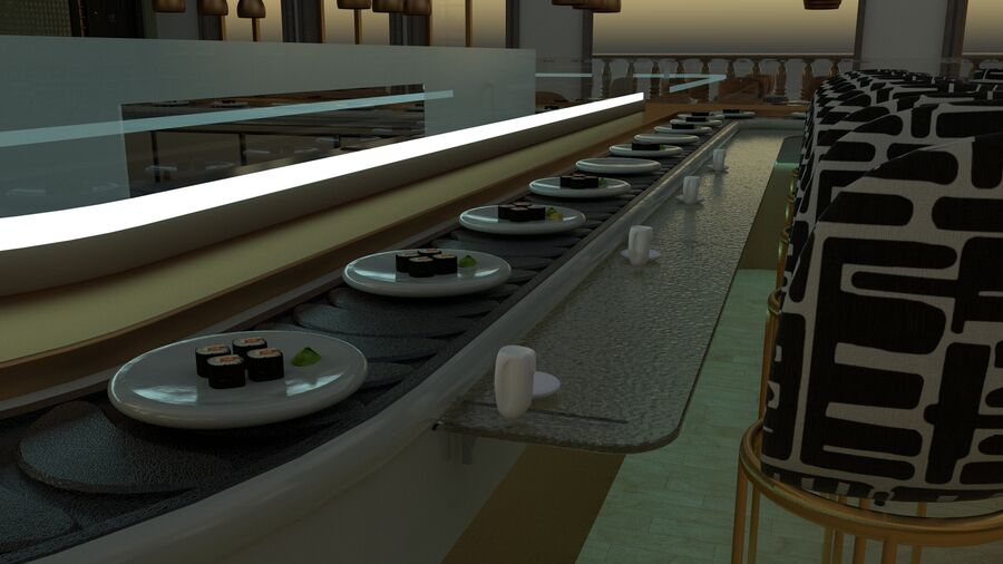 Sky Sushi & Sashimi Night Bar och Fine Dinning resturant royalty-free 3d model - Preview no. 2