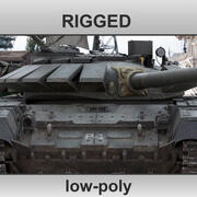 T-72 B3 Main Battle Tank Rigged Low-Poly 3d model