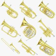 Musikinstrumentensammlung aus Messing 3d model