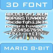 3D Mario 8-bit Font 3d model