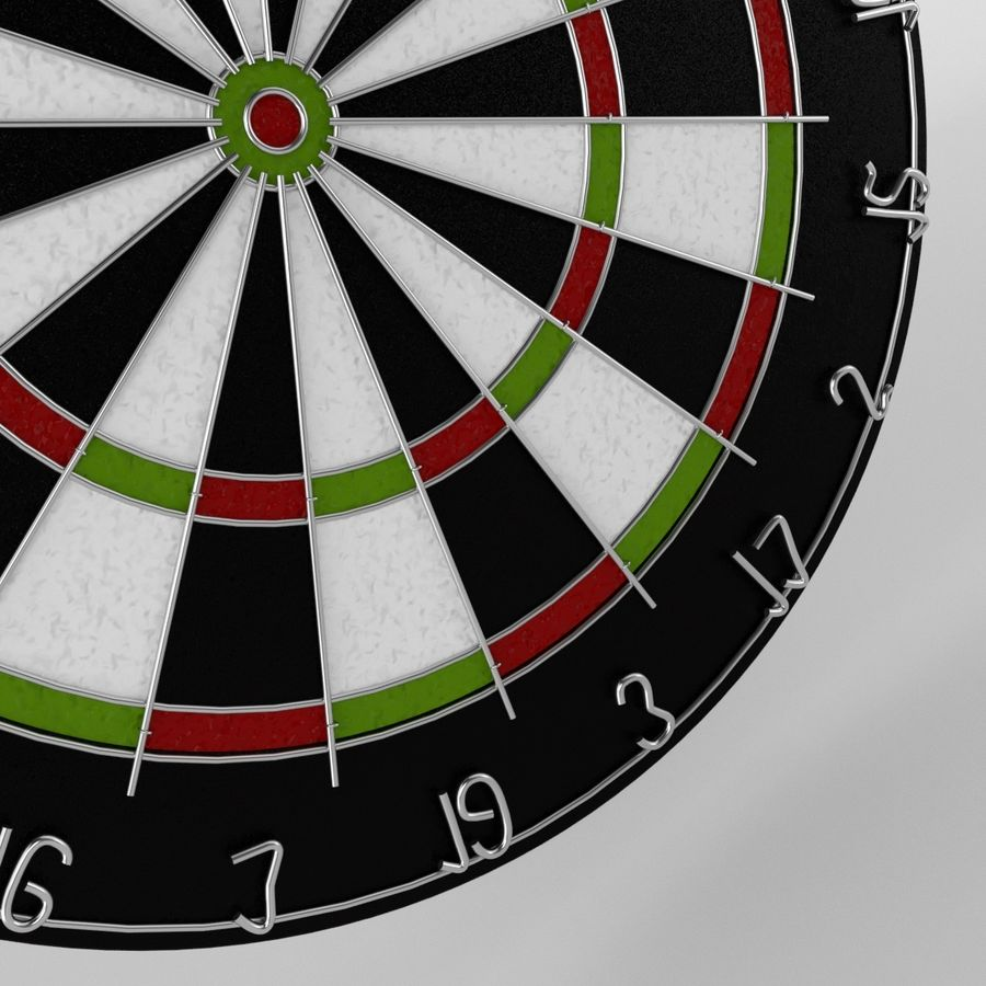 dartboard and darts royalty-free 3d model - Preview no. 4