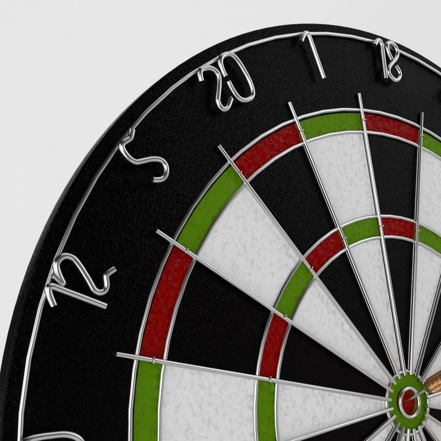 dartboard and darts royalty-free 3d model - Preview no. 2