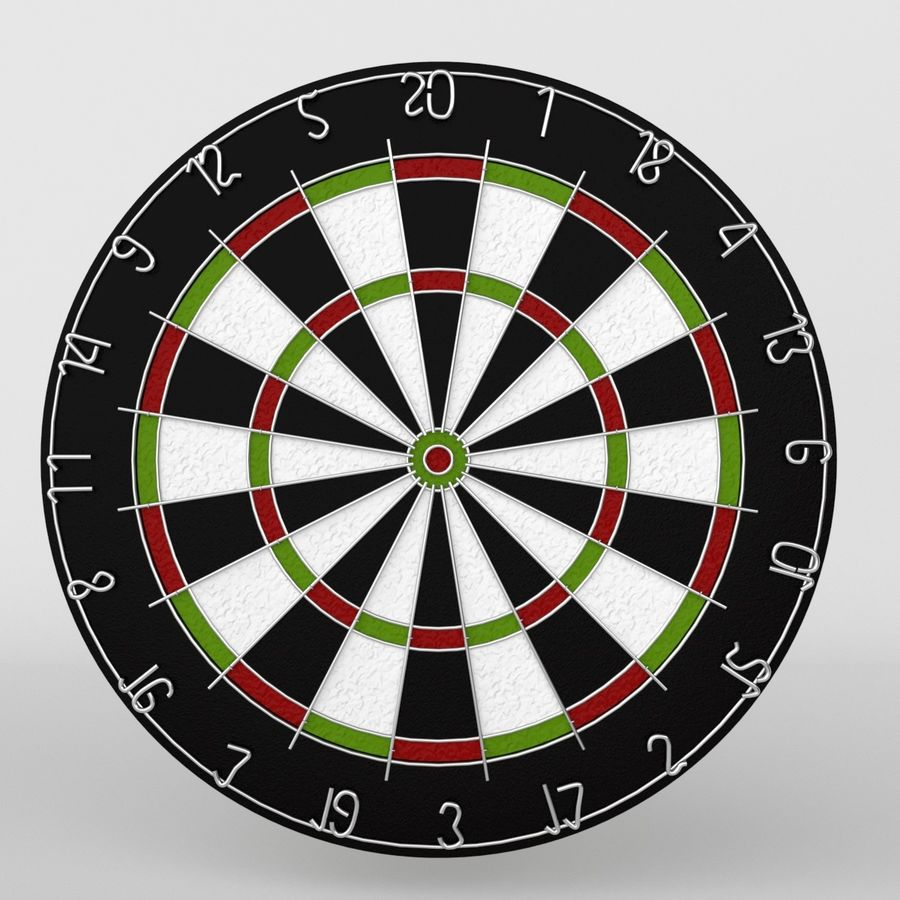 dartboard and darts royalty-free 3d model - Preview no. 6