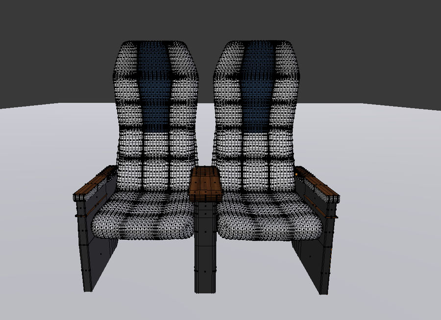 Aircraft Airplane Seat Chair royalty-free 3d model - Preview no. 5