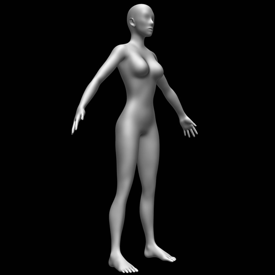 Siatka podstawy kobiecego ciała royalty-free 3d model - Preview no. 3