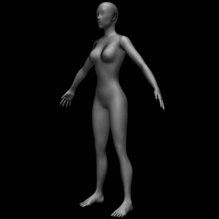 Siatka podstawy kobiecego ciała royalty-free 3d model - Preview no. 19