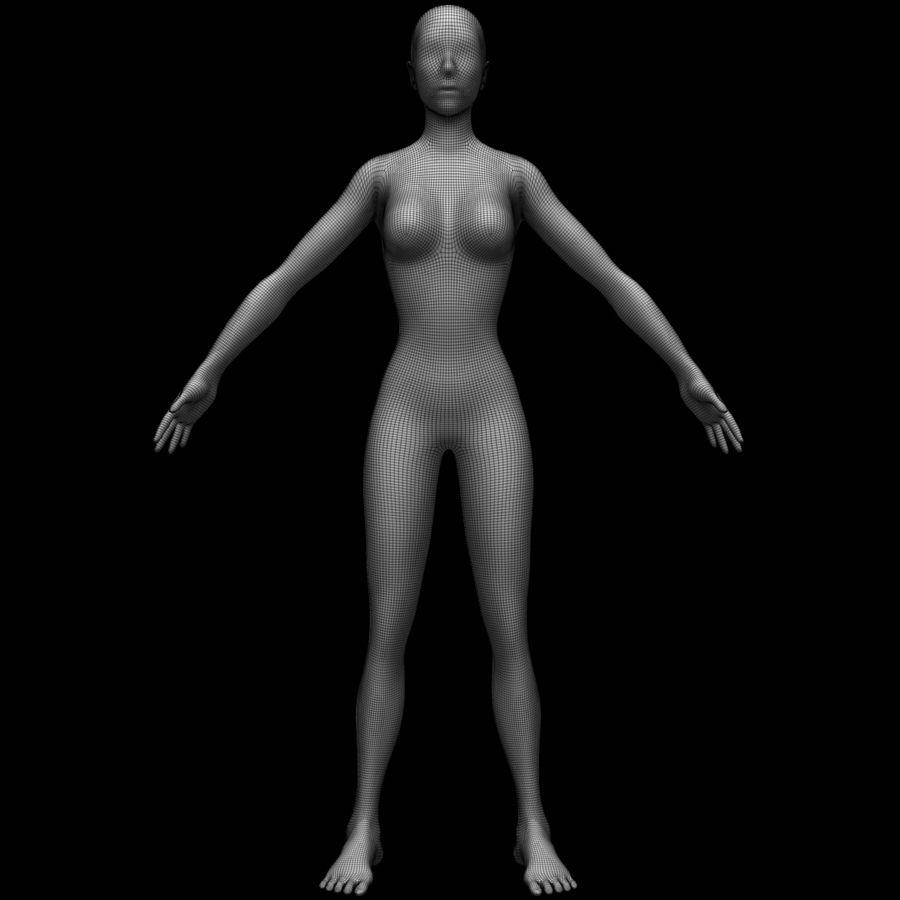 Siatka podstawy kobiecego ciała royalty-free 3d model - Preview no. 12