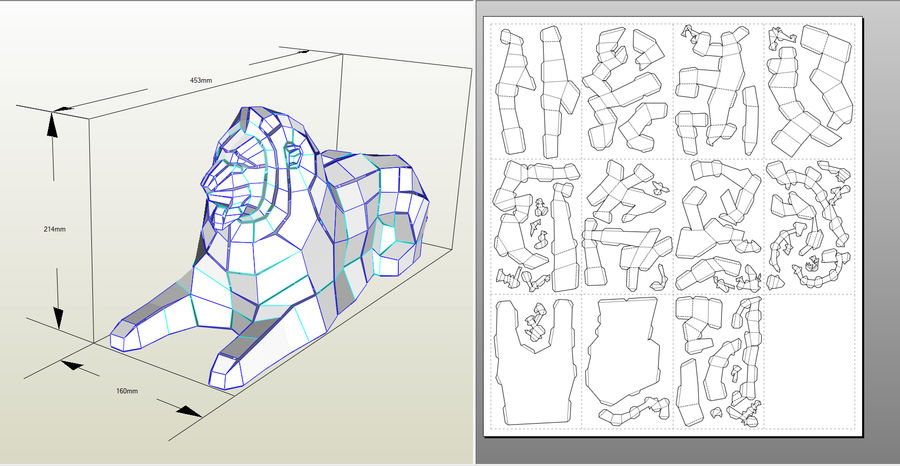 Lion Papercraft royalty-free 3d model - Preview no. 2