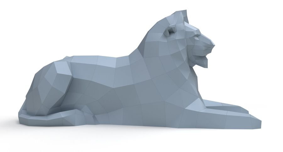 Lion Papercraft royalty-free 3d model - Preview no. 4