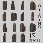Pack bâtiments urbains (15 pièces) 3d model