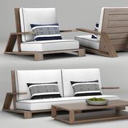 Sofá de teca para área externa Olema 3d model