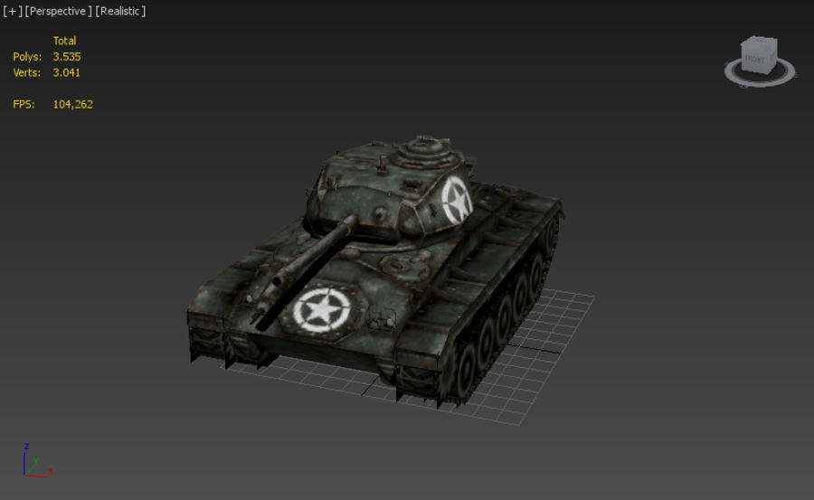 WWII M24低ポリタンク royalty-free 3d model - Preview no. 6