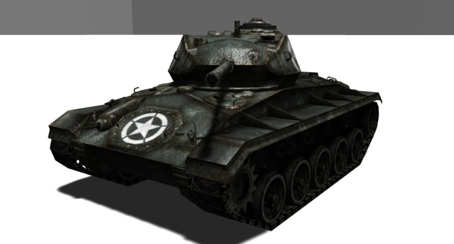 WWII M24低ポリタンク royalty-free 3d model - Preview no. 2