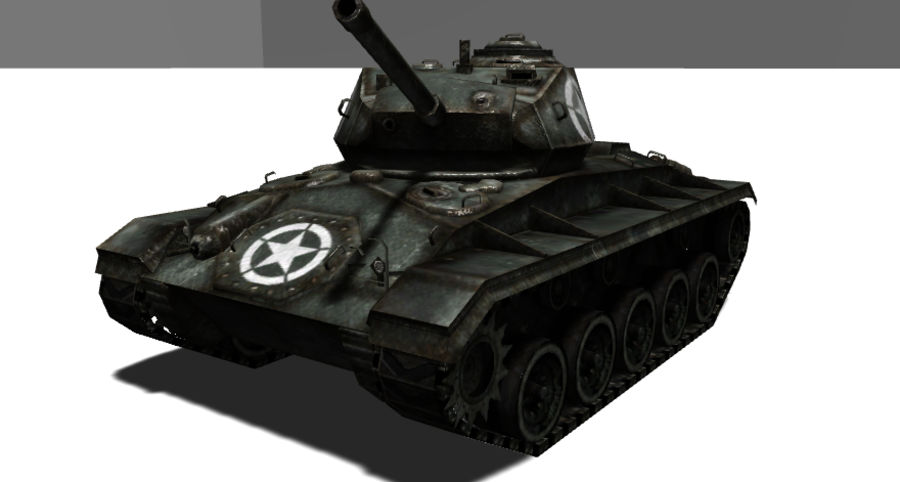WWII M24低ポリタンク royalty-free 3d model - Preview no. 3
