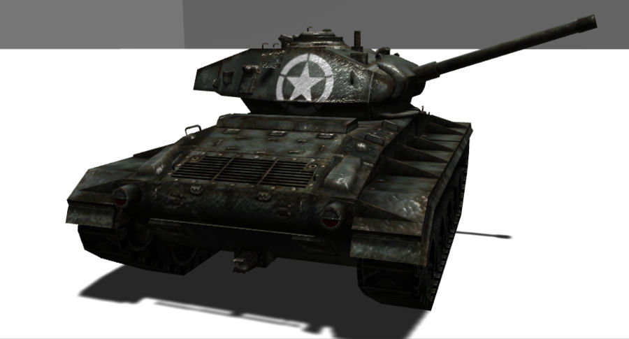 WWII M24低ポリタンク royalty-free 3d model - Preview no. 5