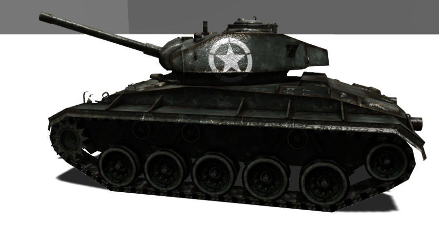 WWII M24低ポリタンク royalty-free 3d model - Preview no. 4