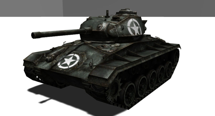 WWII M24低ポリタンク royalty-free 3d model - Preview no. 1