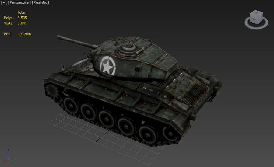 WWII M24低ポリタンク royalty-free 3d model - Preview no. 8