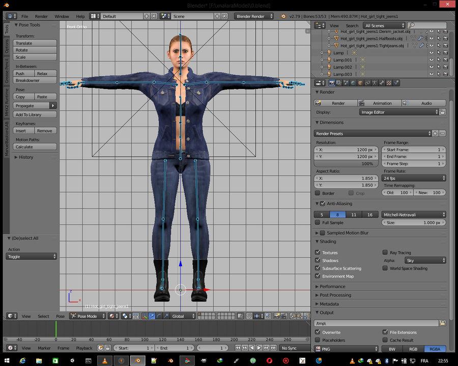 꽉 청바지와 여자 royalty-free 3d model - Preview no. 15