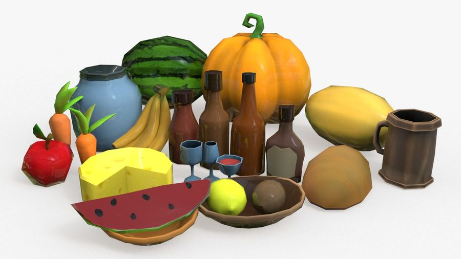 Food cartoon fruit low poly pack royalty-free 3d model - Preview no. 1