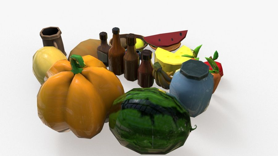 Food cartoon fruit low poly pack royalty-free 3d model - Preview no. 3