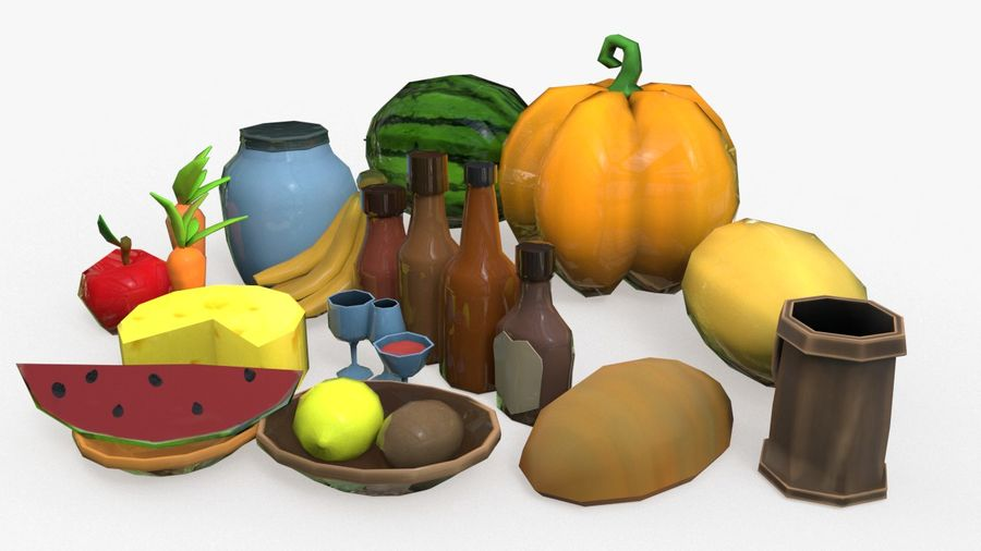 Food cartoon fruit low poly pack royalty-free 3d model - Preview no. 2