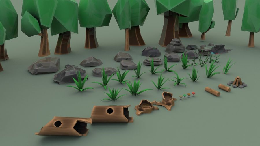 Tree Forest Cartoon Pack Lowpoly royalty-free 3d model - Preview no. 2