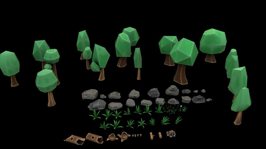 Tree Forest Cartoon Pack Lowpoly royalty-free 3d model - Preview no. 7