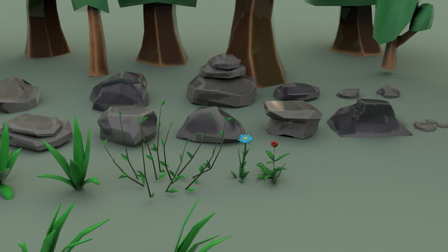 Tree Forest Cartoon Pack Lowpoly royalty-free 3d model - Preview no. 5