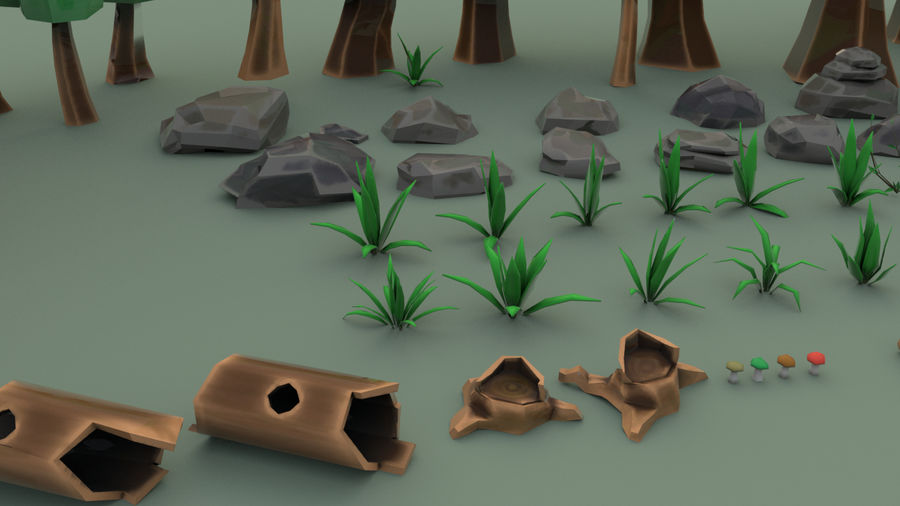 Tree Forest Cartoon Pack Lowpoly royalty-free 3d model - Preview no. 6