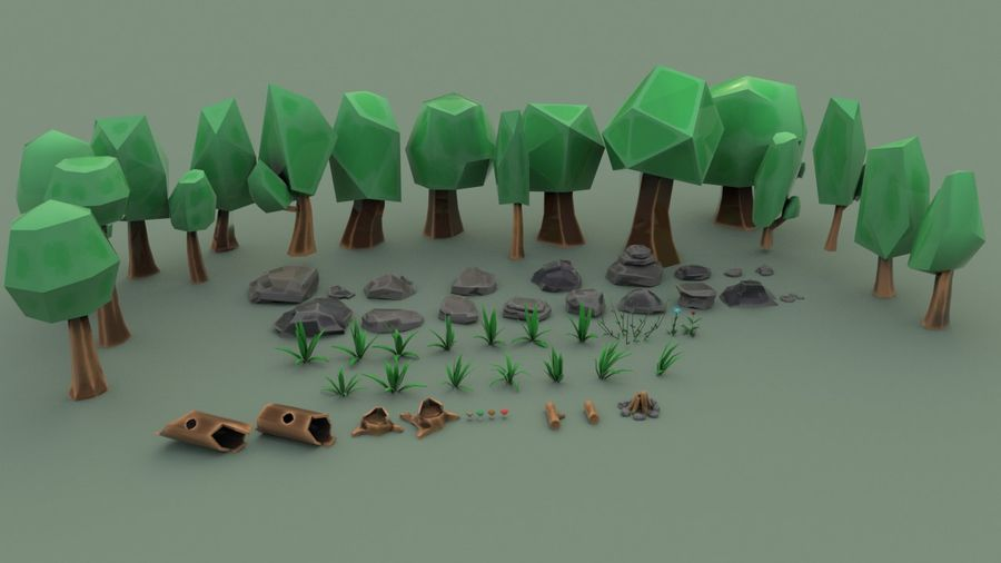Tree Forest Cartoon Pack Lowpoly royalty-free 3d model - Preview no. 1