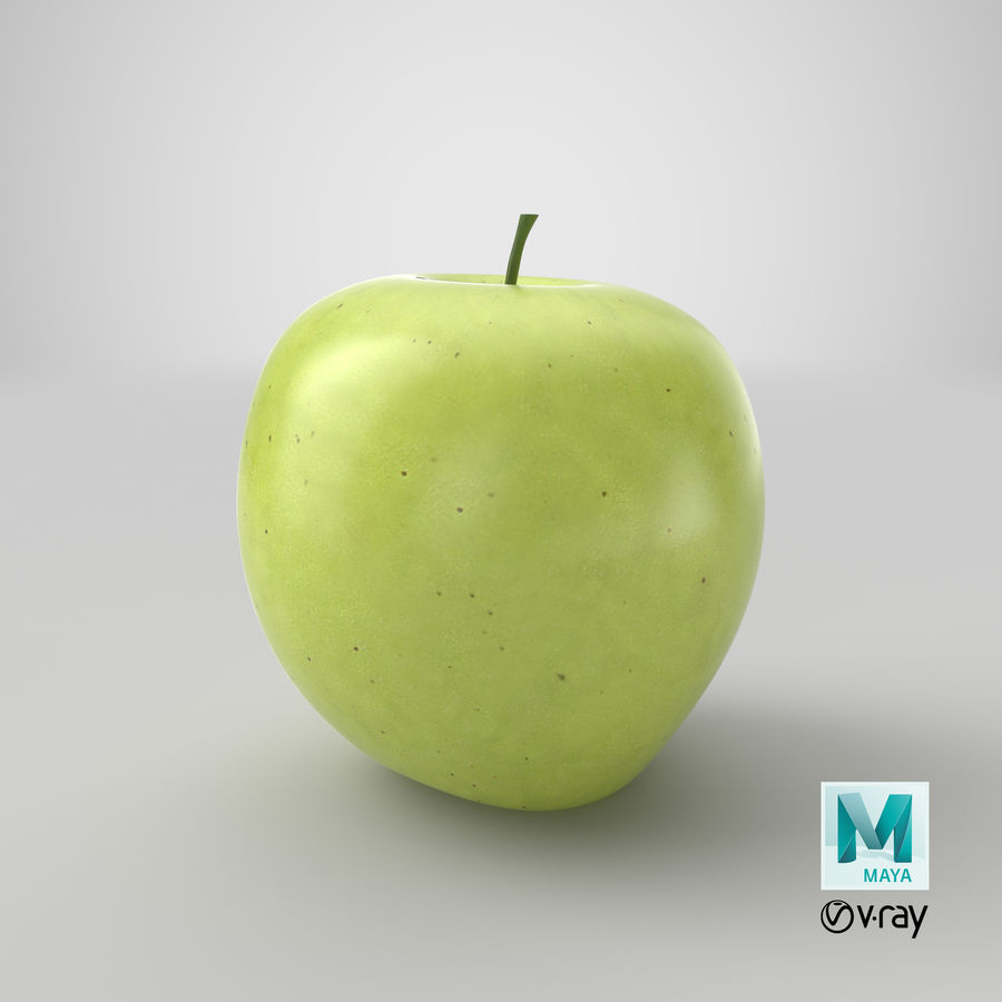 Green Apple Fruit royalty-free 3d model - Preview no. 14