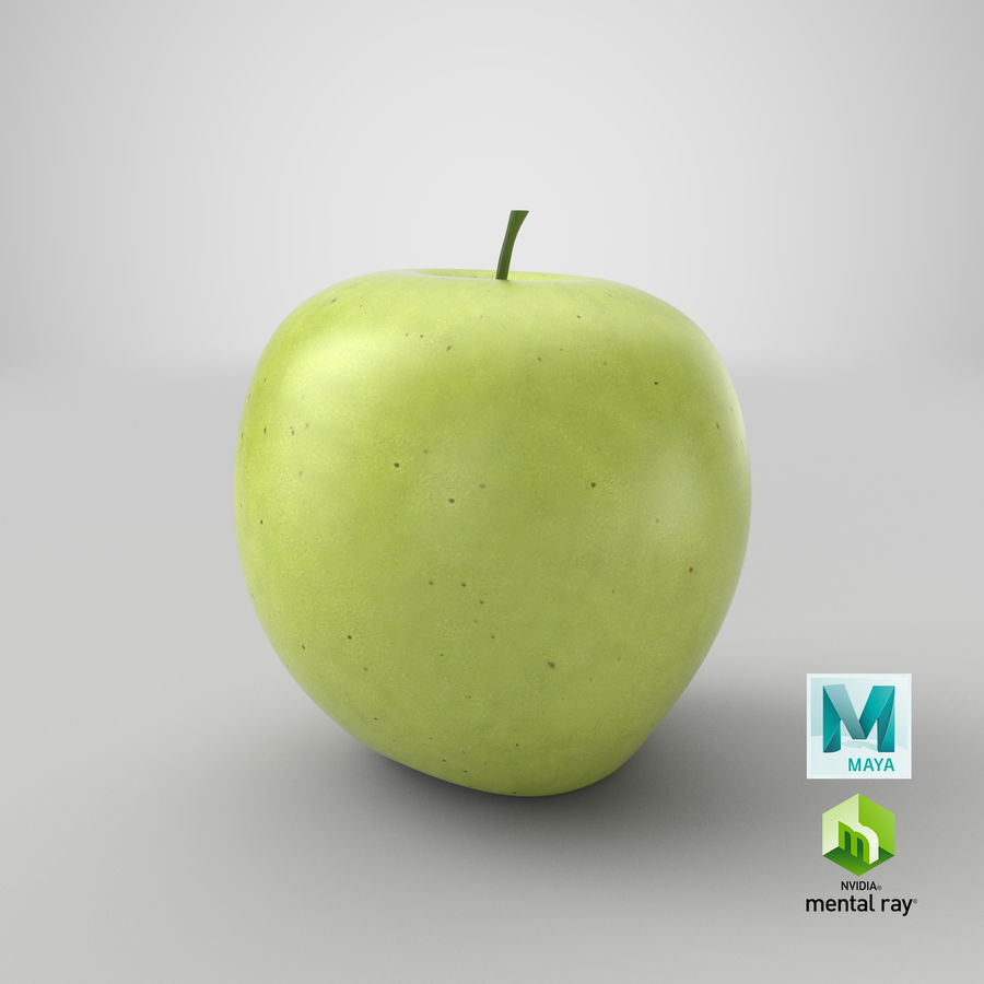 Green Apple Fruit royalty-free 3d model - Preview no. 15
