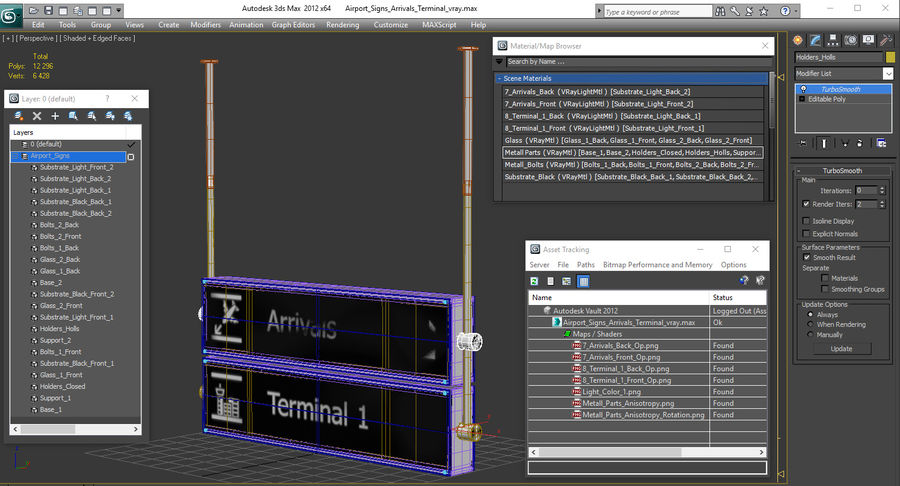 Luchthaven tekent aankomst Terminal 3D-model royalty-free 3d model - Preview no. 14