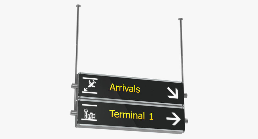 Luchthaven tekent aankomst Terminal 3D-model royalty-free 3d model - Preview no. 2