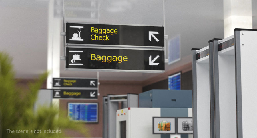 Luchthaven ondertekent bagagecontrole royalty-free 3d model - Preview no. 3