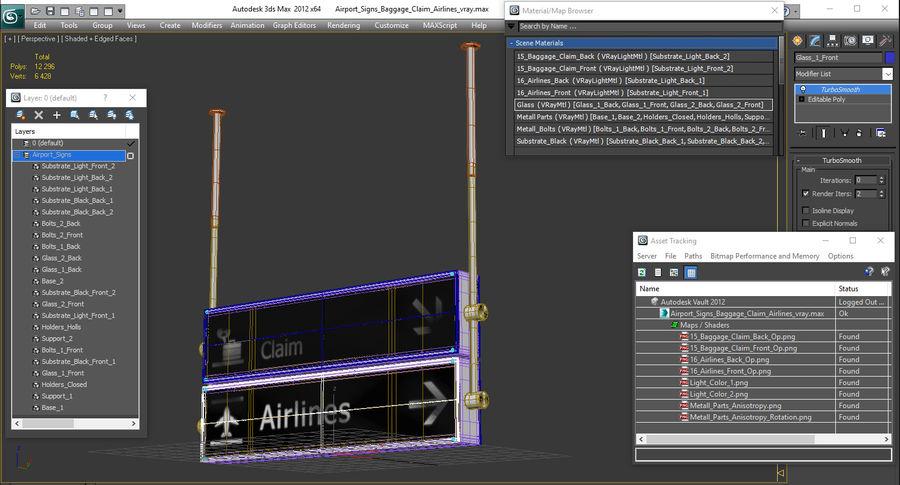 Airport tekenen bagage claim luchtvaartmaatschappijen 3D-model royalty-free 3d model - Preview no. 15