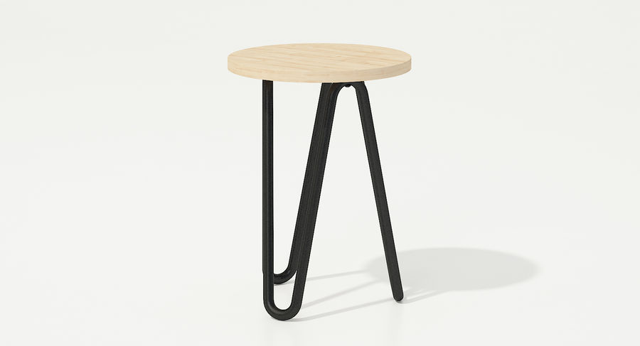 Wood and Metal Stool royalty-free 3d model - Preview no. 4