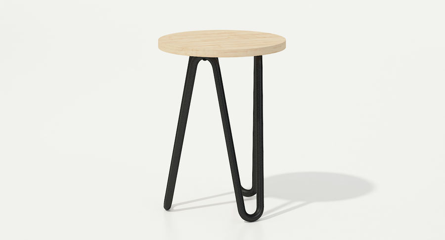 Wood and Metal Stool royalty-free 3d model - Preview no. 6