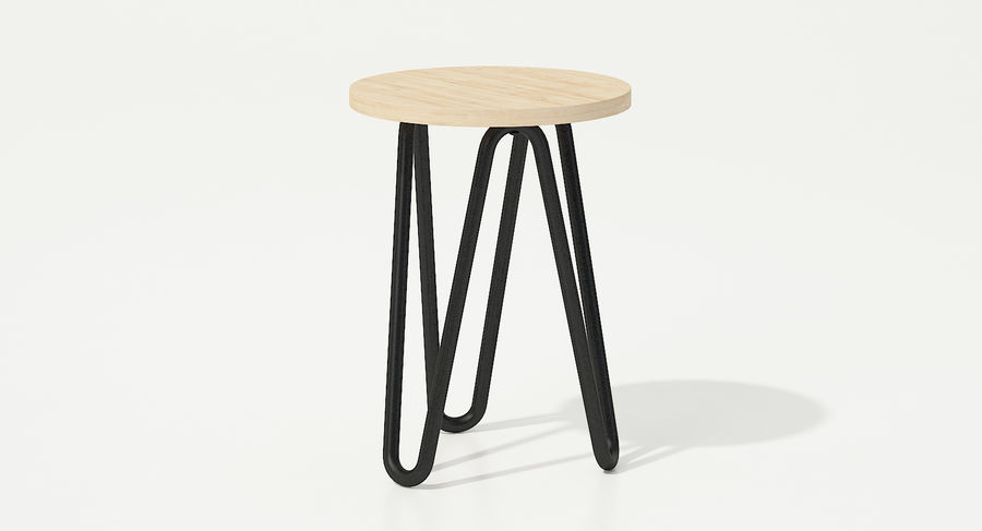 Wood and Metal Stool royalty-free 3d model - Preview no. 3