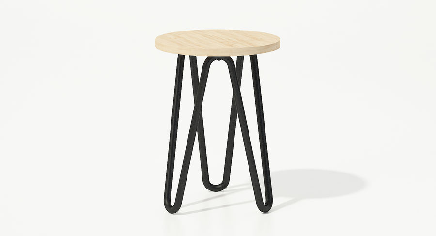Wood and Metal Stool royalty-free 3d model - Preview no. 2