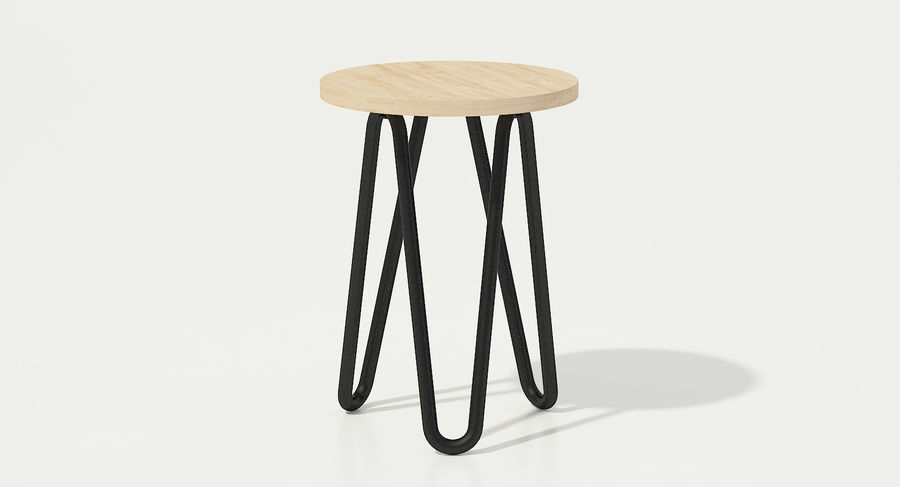 Wood and Metal Stool royalty-free 3d model - Preview no. 7