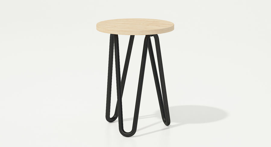 Wood and Metal Stool royalty-free 3d model - Preview no. 5