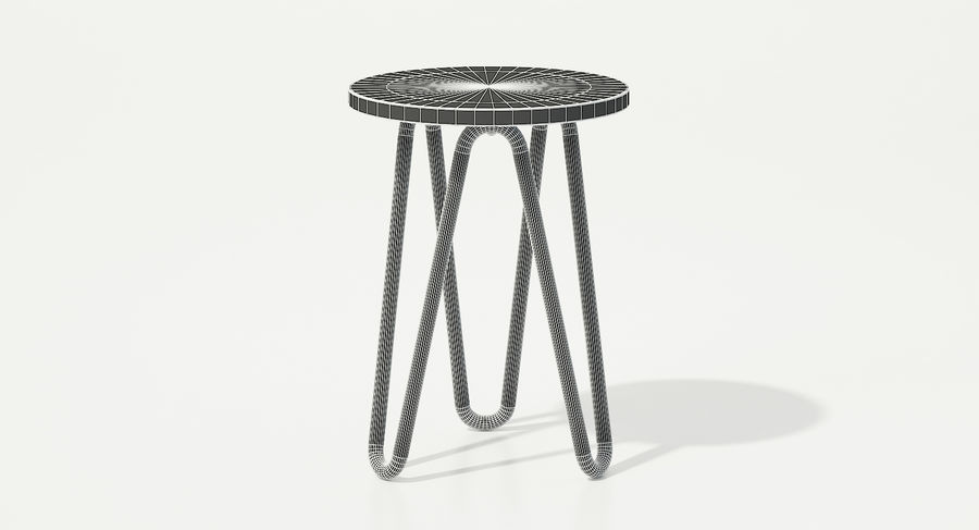 Wood and Metal Stool royalty-free 3d model - Preview no. 8