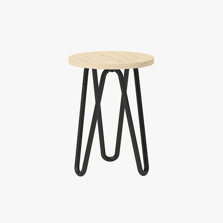 Wood and Metal Stool royalty-free 3d model - Preview no. 1
