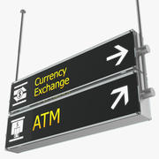 Airport Signs Currency Exchange ATM 3D Model 3d model